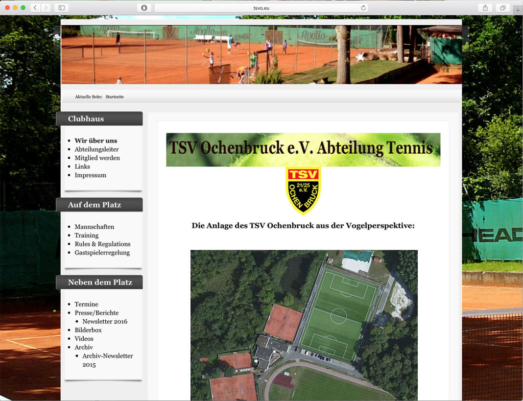 screenshot tenniswebseite